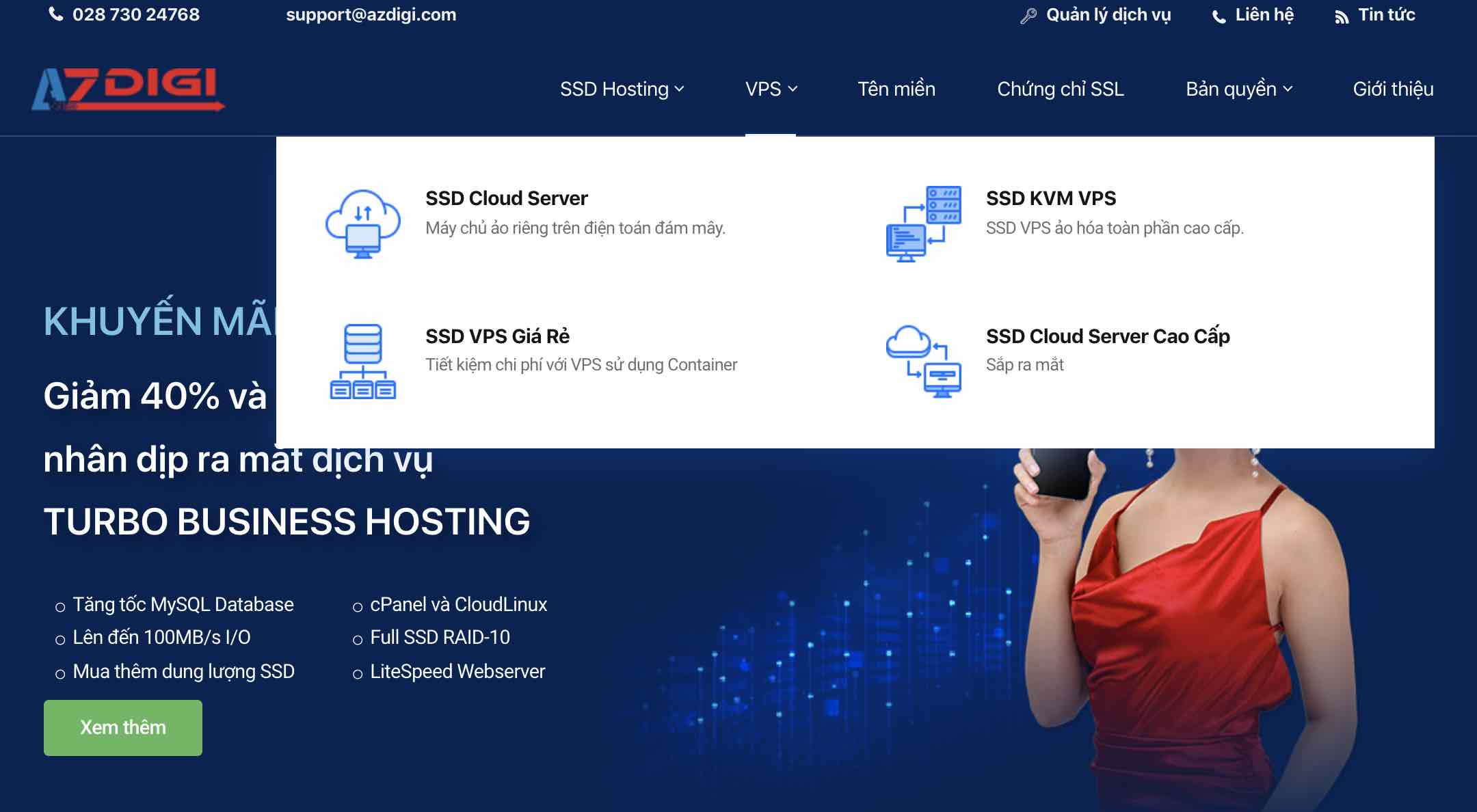 vps azdigi homepage
